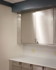 Stainless steel upper wall cabinets