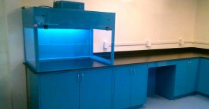 blue powder coated ductless fume hood