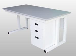 cantilever bench with riser shelf