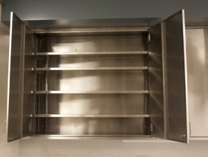Stainless wall upper cab adjustabe shelving